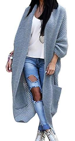 Mikos Women's 3/4 Sleeve Waterfall Asymmetric Open Cardigan Sweater (629) (Grey)