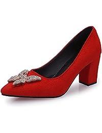 DIMAOL Zapatos de Mujer PU Confort Primavera Tacones Tacon Bloque Cuadrado de convergencia Casual Negro Marrón...