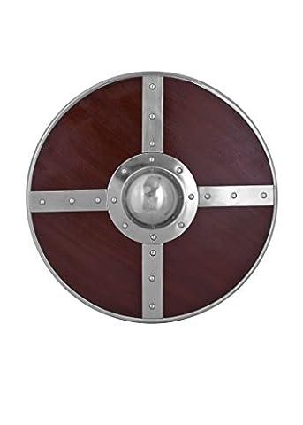 Rundschild aus Holz mit Stahlbeschlägen und Buckel - Wikinger Mittelalter Schild (Ritterschild Kostüm)