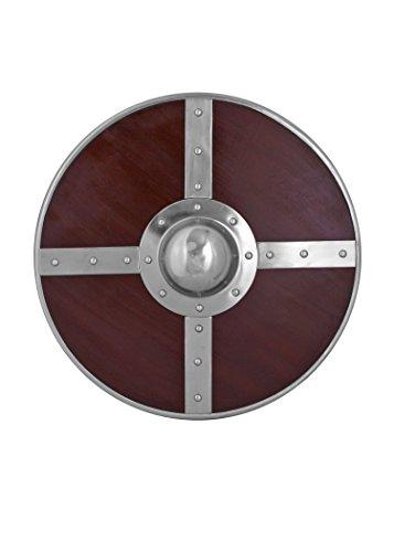 Rundschild aus Holz mit Stahlbeschlägen und Buckel - Wikinger Mittelalter - Holz-rundschild