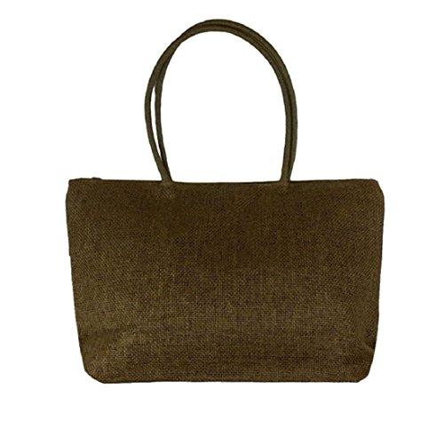 Vovotrade® Le donne di colore della caramella borsa da spiaggia a tracolla grande paglia (Nero) colore marrone