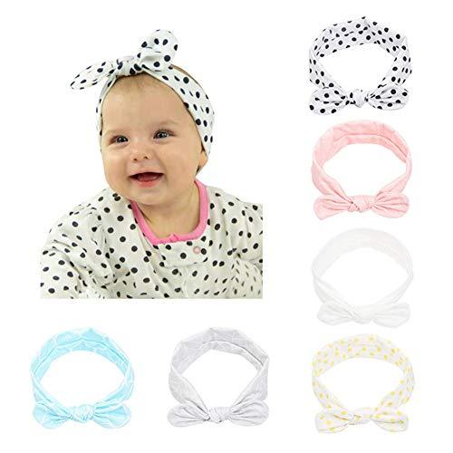 CANSHOW 6 Stück Baby Stirnbänder Mädchen weich Baumwolle Haarband Stirnband Madchen Turban Babygeschenke ...