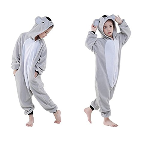 Onesie Kinder Kostüme Cosplay Koala Größe Jumpsuits Pyjama Mädchen Jungen Halloweenkostüm (L)