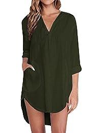 a39b9421460d3 Zanzea Femme Chemise Manches Longue Tunique Lâce Mini Robe Mousseline  T-Shirt Tops Haut Blouse