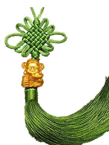 Wooya Ping-Einen Glück Gott Kleine Chinesische Anhänger Zog In Die Wohnzimmer Bonsai Kreative Handarbeiten Knoten-Hellgrün -