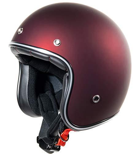 Jet Helm Roller-Helm, Bordeaux-Matt, Rot-Matt, Burgundrot-Matt, Weinrot Vespa-Helm, Helmet, Cruiser Mofa Roller-Helm Pilot Retro Chopper Jet-Helm Scooter-Helm Motorrad-Helm Klassisch Vintage · ECE (M)
