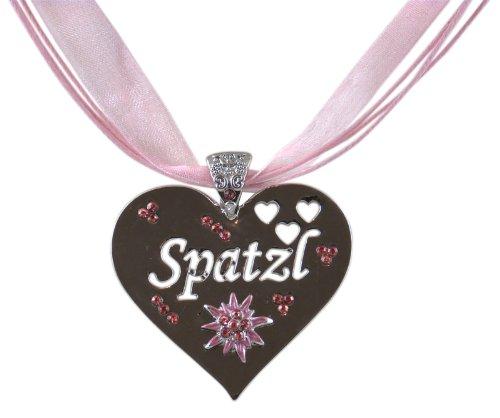 Trachtenschmuck Herz mit Kristallen Rose rosa – hochglanz poliert – Spatzl sowie Herzen gestanzt...