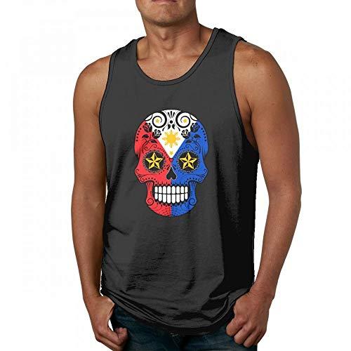 2503939613905 Acme Real Funny Filipino Flag Sugar Skull Mens Quick-Dry Loose-Fit Crew Tank  Top