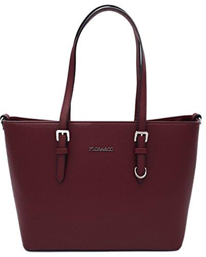 Damen Schultertasche Handtasche (Wein Rot) (Wein-rot-handtasche)