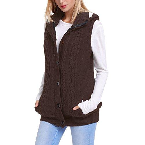Dissa S27665 Pull sans Manche Gilet Sweater Femme Marron