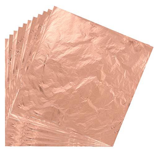 KUUQA 100 Blatt Blattkupfer Imitation für Vergoldung Handwerk, Kunstprojekt Handwerk Dekoration (14x14 cm) (Rose Gold) (Blatt Kupfer)
