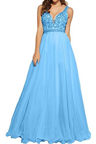 TOSKANA BRAUT Damen 2017 Neu Gruen Zwei-Schulter Perlen Paillette Chiffon Promkleider Lang Abendkleider Partykleider Blau