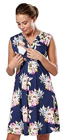 Zeta Ville - Damen Still Kleid Diskretes Stillen Skaterkleid Schwangere - 808c (Blau Jeans mit Blumen, EU 36, S)