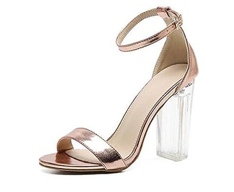 Beauqueen Transparent Heel Anke Straps Sandales Abercrombie & Fitch Boucles d'oreilles à talons hauts Chaussures à édition limitée Taille de l'UE 34-40 , champagne ,