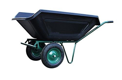 floristikvergleich.de Schubkarre 250 Liter zweirädrig, Metallachse, Lufträder, robuste Kunststoffmulde – Gartenkarre