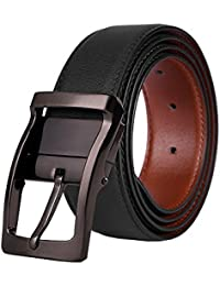 Mens Leather Belt Reversible Black Belt for Men with Rotated Polished Buckle by BESTKEE