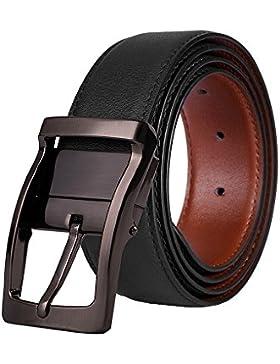 Cinturón Hombre de Cuero Bicolor Marrón y Azul con Reversible Hebilla Pulida Giratoria