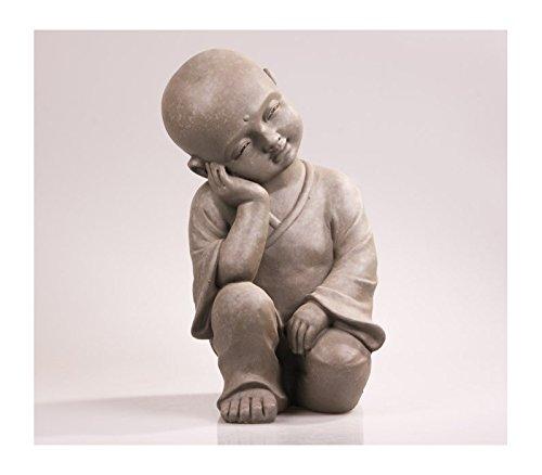 Stone-Lite Figur - Shaolin-Mönch denkend - 25 cm - regen- und frostbeständig