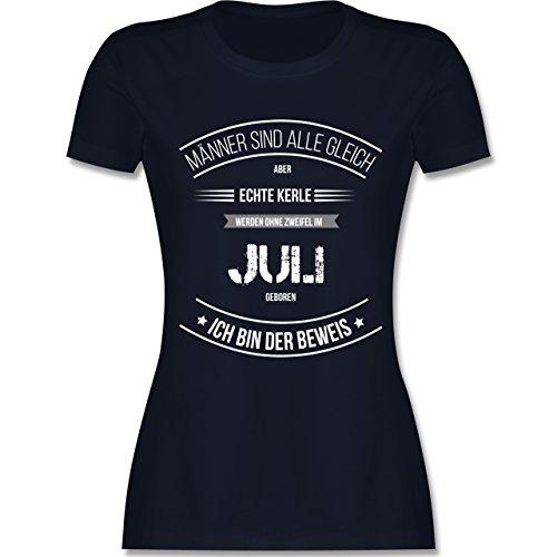 Shirtracer Geburtstag - Echte Kerle Werden IM Juli Geboren - Damen T-Shirt Rundhals Navy Blau