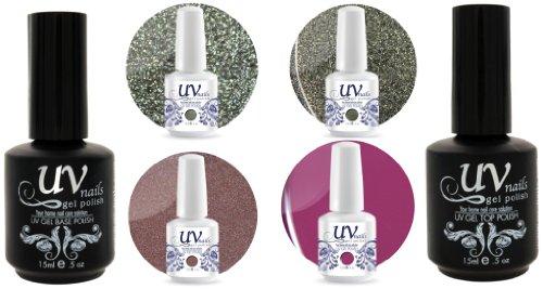 UV-Nails Soak-Off Gel Set Flamingo (GL9,GL10,G47,G38) 2 Glitters & 2 Vernis a Ongles Gel 0.5 OZ + Base & Top Coat 0.5 OZ + Polissoir & Lime a Ongles Aviva