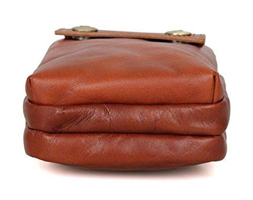 MeiliYH Tasche in pelle Retro tempo libero Tasca di tasche in pelle per gli uomini Marrone