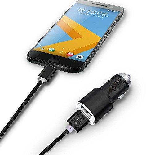 I-Sonite (Schwarz) Quick Charge Dual-Port-USB-Voll-Aluminium-Gehäuse Auto-Ladegerät Adapter (3,1A / 24W) Mit Bruch-Glas-Sicherheits-Hammer & 1 Meter Type C Nylon Geflochtene Anti Tangle Datenübertragung Lade Synchronisierungs-Kabel für Huawei P20 Lite