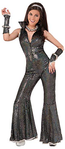 Flared Disco Jumpsuit with Arm Bands for Women. Size 10 to 14.