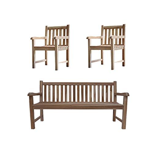 SAM Sparset: 1 x Gartenbank & 2 x Gartenstuhl aus Teak-Holz, Sitzbank 150 cm, Pflegeleichte Unikate,...