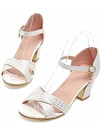 Verano de mujeres europeas y americanas sandalias de tacón alto, líneas de piedra, grandes patios, zapatos de tacón alto, sandalias y zapatos de mujer,blanco,42