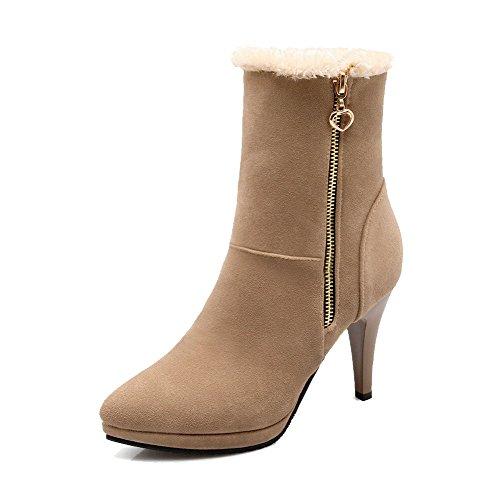 AllhqFashion Damen Niedriger Absatz Niedrig-Spitze Rein Stiefel mit Metallisch, Aprikosen Farbe, 43