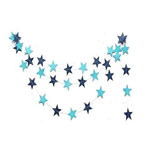 Qingsun 4m Guirlande de Pentacle en Papier Coloré Bunting Hanging Papier étoiles Décoration Maison et Anniversaire-Couleur Bleu