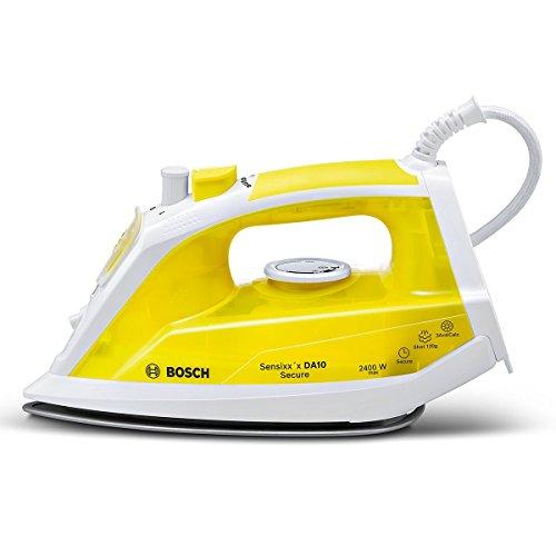 Bosch Sensixx'x TDA1024140 - Plancha (Plancha vapor-seco, Suela de paladio, 1,9 m, 120 g/min, Blanco, Amarillo, 35 g/min)