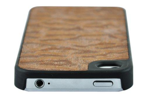 SunSmartPremium Qualität Holz Leder Standplatz Fall Abdeckung für das Apple iPhone 4 / 4S (dunkelbraun) sapele