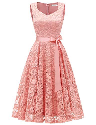 Gardenwed GardenWed Damen Elegant Spitzenkleid Strech Herzform Abendkleid Cocktailkleider Partykleider Blush S