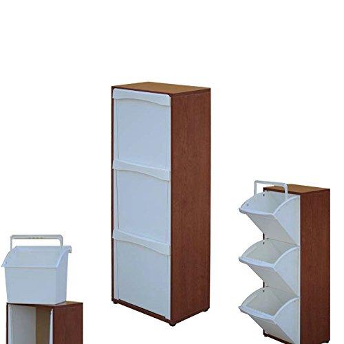 Mobile in legno raccolta differenziata 3 vani in ciliegio 25x40 cm h 101 cm