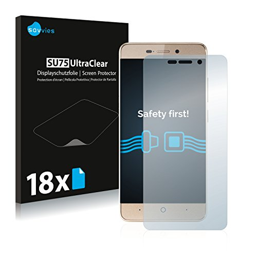 Savvies Schutzfolie kompatibel mit ZTE Blade A452 (18 Stück) - ultraklare Bildschirmschutz-Folie