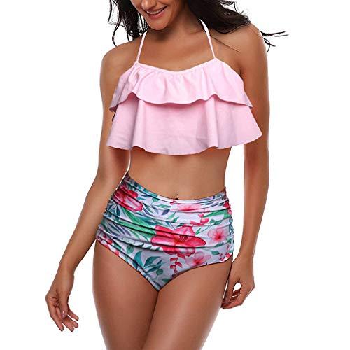 Tooth Bikini Damen High Waist Set Geteilter Swimsuit Stripe Print Ruffled Mesh Sexy Bikini Set mit Bikini Retro Hoher Taille Strandkleidung Bikinihose (Rosa,M) -