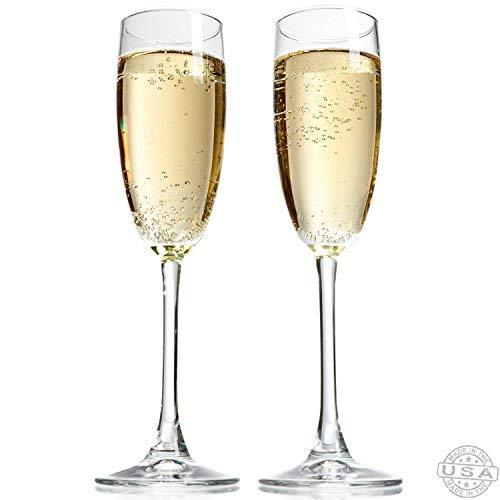 Taylor'd Milestones Champagnergläser, 227 ml Sektgläser, kristallklar, hergestellt in den USA, 2 Stück Perfekte Größe für alle Sekt und sprudelnde Getränke.