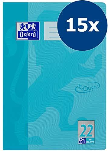 OXFORD 400104368 Schulheft Touch 15er Pack A4 16 Blatt kariert ohne Rand in der Farbe Hellblau mit abgerundeten Ecken -