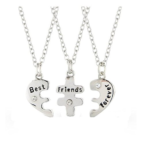 Three Part Best Friends Forever Silver Plated Heart Necklace's - 3 Necklaces and 3 Velvet Gift Pouches by Ananth Jewels
