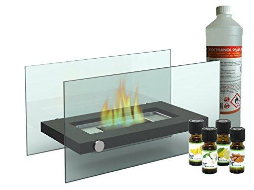 Chimenea de mesa decorativa/cristal Chimenea Bioetanol + 1L + 4x Aceite Aromático, chimenea de mesa para una cómoda atmósfera