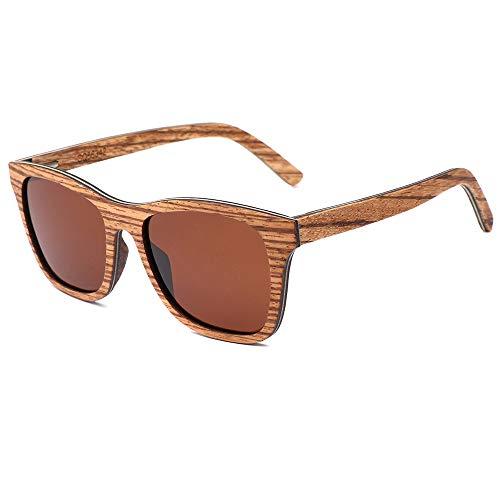 Zbertx Zebra Design Sonnenbrille Frauen Original Holz Handgefertigte Sonnenbrille Mann Mode Vintage Style,braun