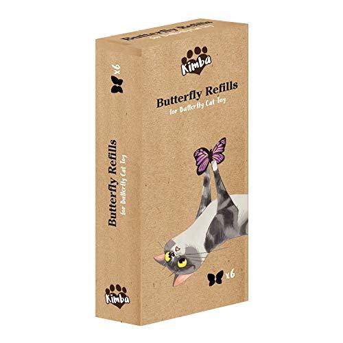Kimba Interaktives Katzenspielzeug, Schmetterling, Nachfüllpackung, 6 Stück