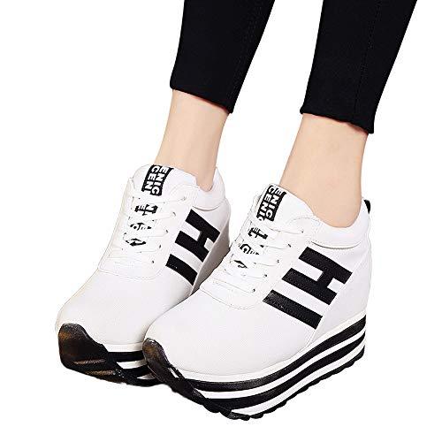 MYMYG Plateauschuhe Sportschuhe Frauen Casual Schnürschuhe Sneaker Canvas -