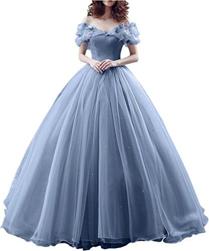 Victory Bridal Wunderschoen Himmel Blaues Kurzarm Abendleider Quincenera Ballkleider Lang Promkleider Cinderella -38 Himmel Blau