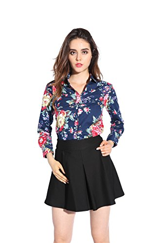 Dioufond Camisa de Mujer Manga Larga de Algodón Flores Patrón Botón Abajo Blusa Delgada con Cuello Vuelto y Puño Gemelos Top de Mujer - Trabajo/Verano(EU 46,AzulJardín)