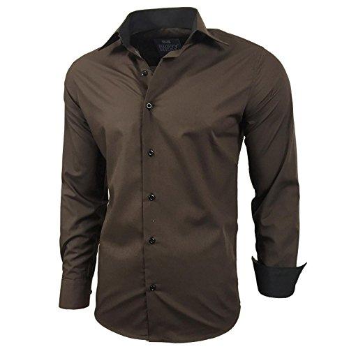 Herren Kontrast Basic Hemden Business Freizeit Langarm Anzug Hochzeit Hemd R-44