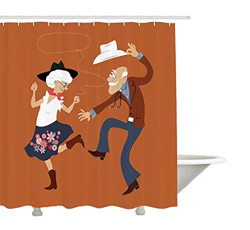 Yeuss Country Duschvorhang,Senior Altes Ehepaar mit Western Kostümen Tanzen Feiern Square Dance Contradance,Stoff Bad Dekor Set mit Haken,Multicolor (Altes Ehepaar Kostüm)