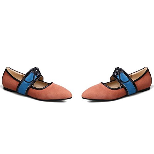 COOLCEPT Femmes Mary Jane Talon Bas Prom Bout Ferme lacets Soiree Court Chaussures Orange