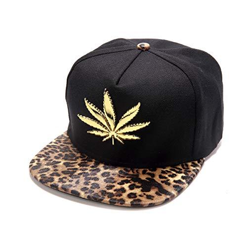 MCSAYS Hombre HipHop de la PU de cuero plano de ala del sombrero del Snapback marihuana Weed Leaf gorra de béisbol de algodón ajustable leopardo